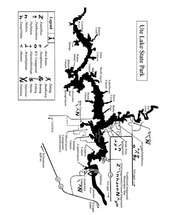Ute lake map for Ute lake fishing report